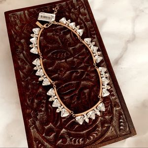 Clear Jeweled Gold Statement Necklace
